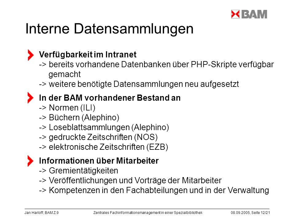 Interne Datensammlungen