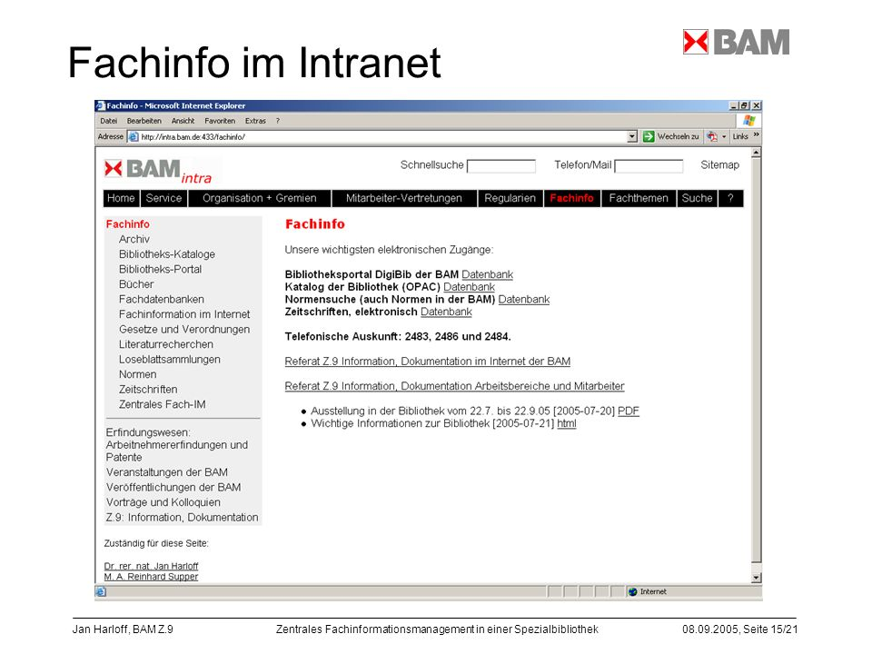 Fachinfo im Intranet Jan Harloff, BAM Z.9