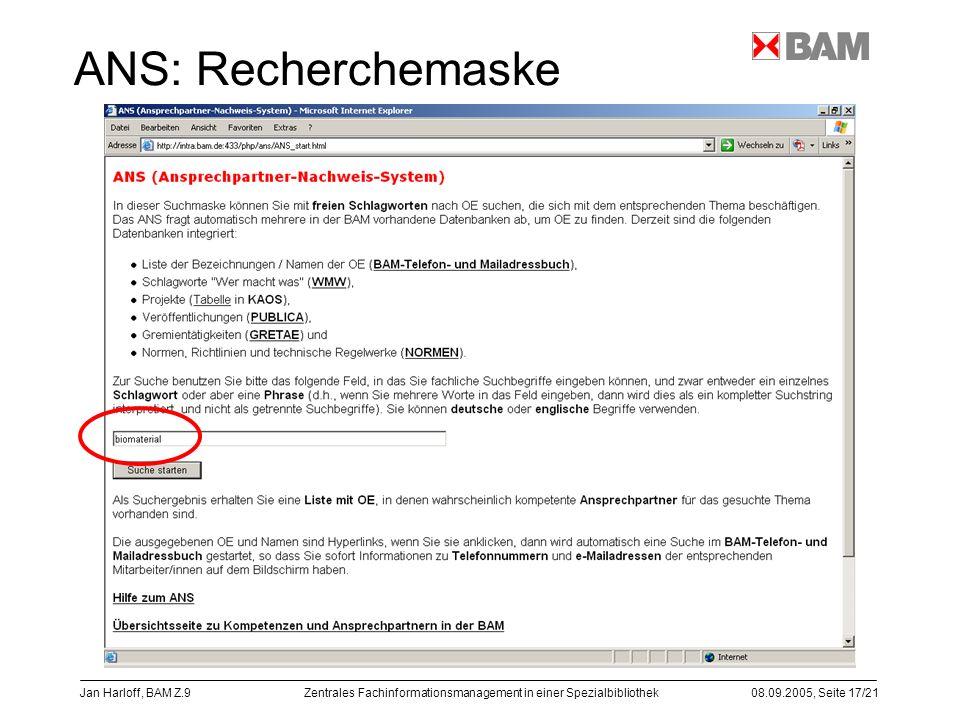 ANS: Recherchemaske Jan Harloff, BAM Z.9