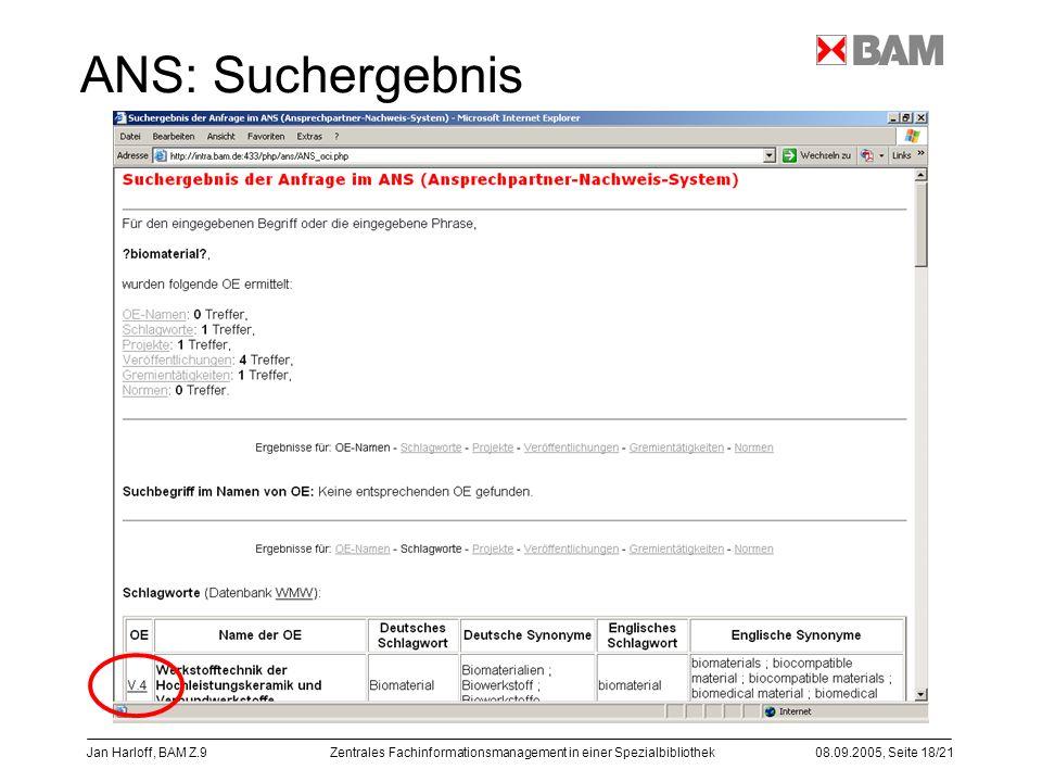 ANS: Suchergebnis Jan Harloff, BAM Z.9