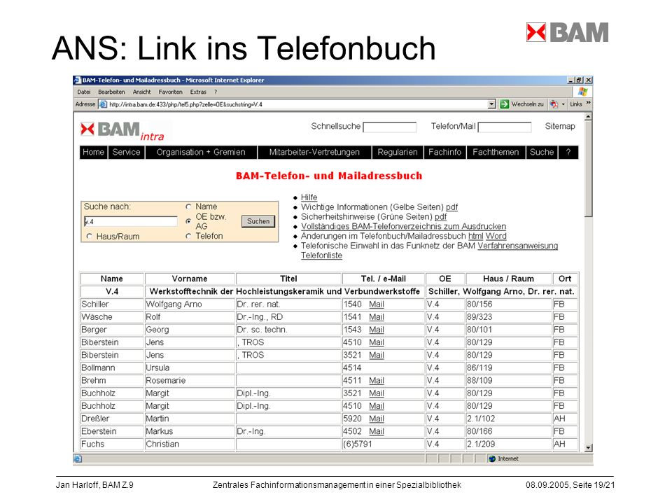 ANS: Link ins Telefonbuch