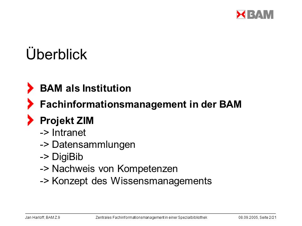 Überblick BAM als Institution Fachinformationsmanagement in der BAM