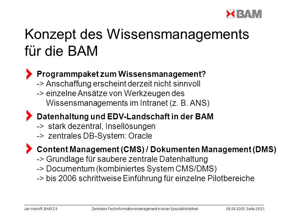 Konzept des Wissensmanagements für die BAM