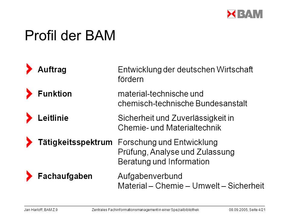 Profil der BAM Auftrag Entwicklung der deutschen Wirtschaft fördern