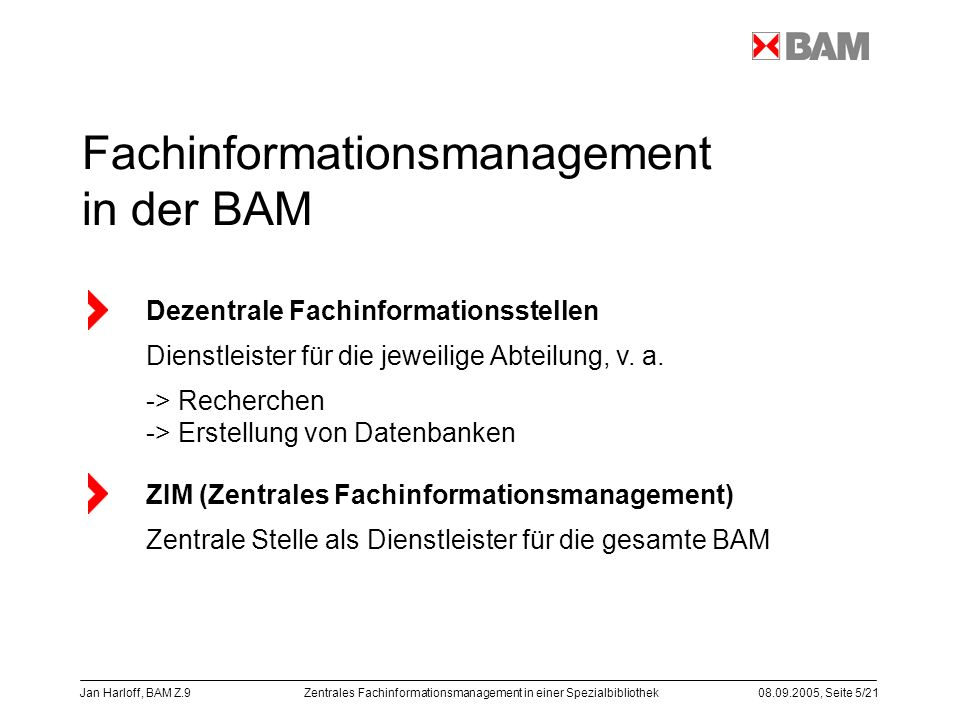 Fachinformationsmanagement in der BAM