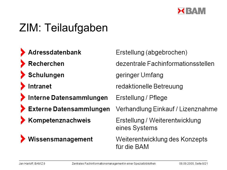 ZIM: Teilaufgaben Adressdatenbank Erstellung (abgebrochen) Recherchen dezentrale Fachinformationsstellen.