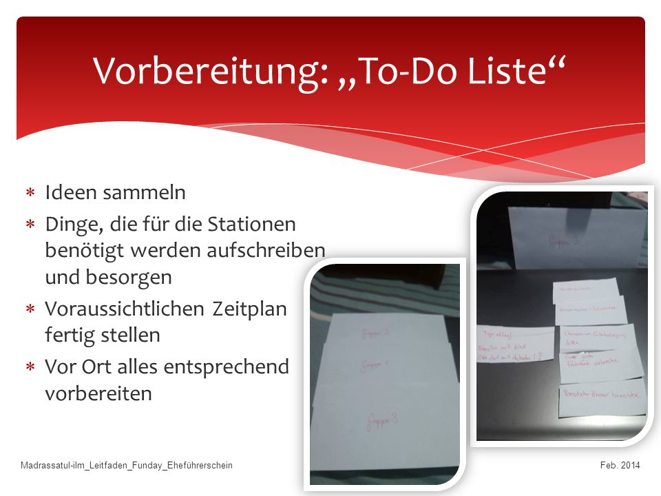 "Vorbereitung: ""To-Do Liste"