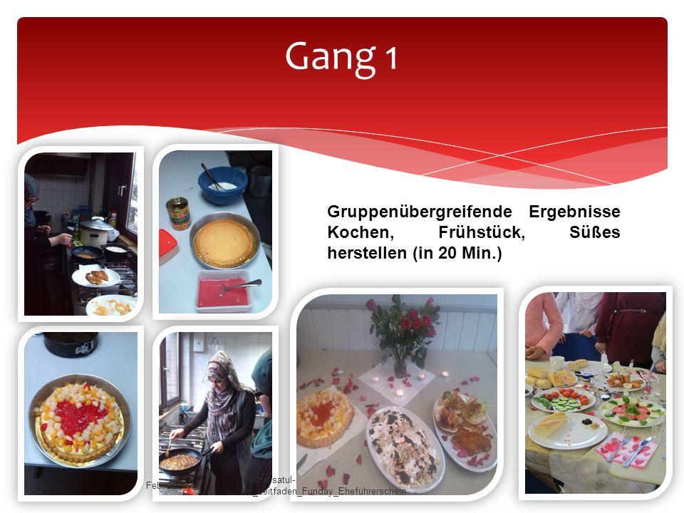 Gang 1 Gruppenübergreifende Ergebnisse Kochen, Frühstück, Süßes herstellen (in 20 Min.) Feb. 2014.