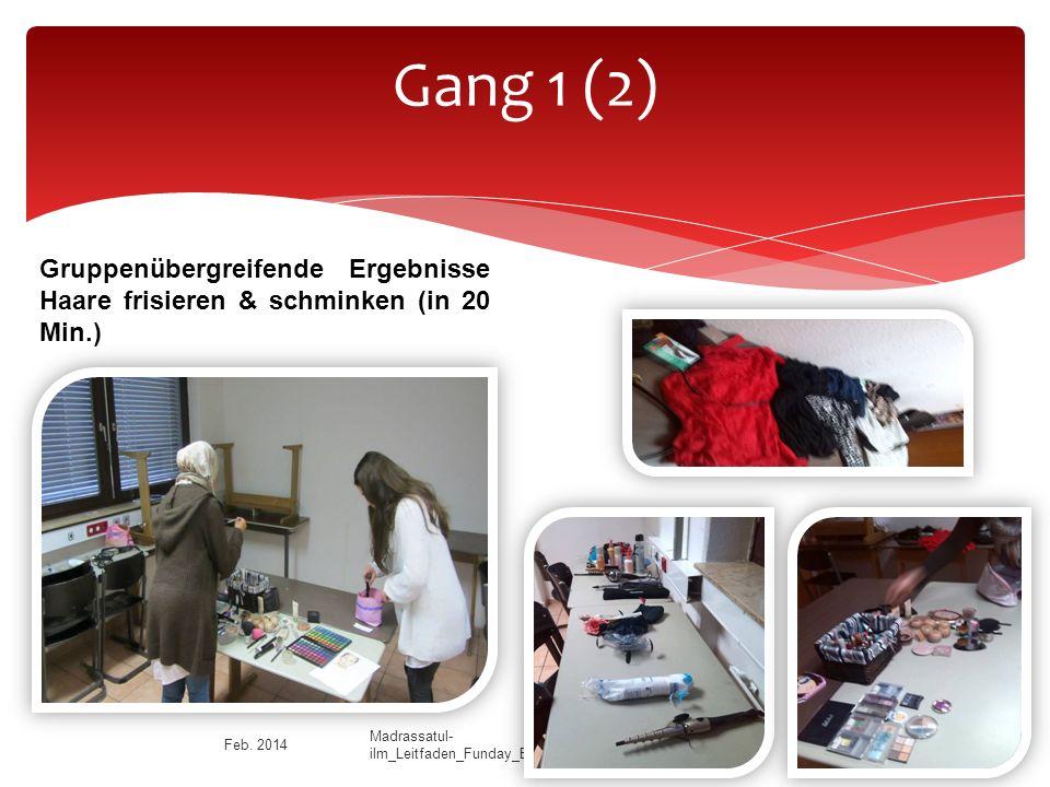 Gang 1 (2) Gruppenübergreifende Ergebnisse Haare frisieren & schminken (in 20 Min.) Feb.