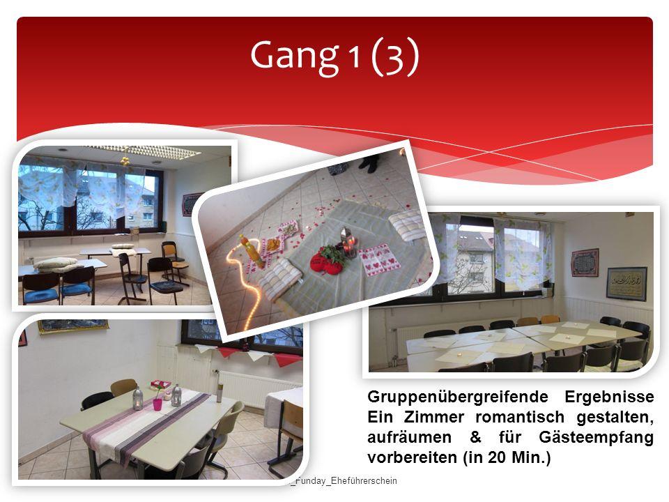 Gang 1 (3) Gruppenübergreifende Ergebnisse Ein Zimmer romantisch gestalten, aufräumen & für Gästeempfang vorbereiten (in 20 Min.)