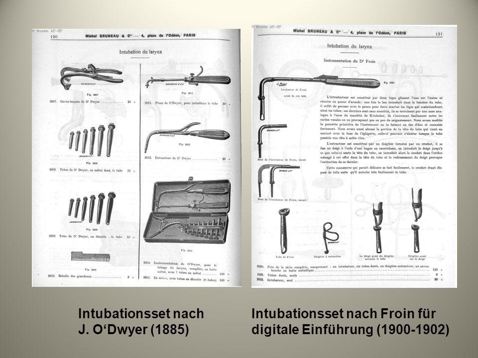 Intubationsset nach J. O'Dwyer (1885) Intubationsset nach Froin für digitale Einführung (1900-1902)