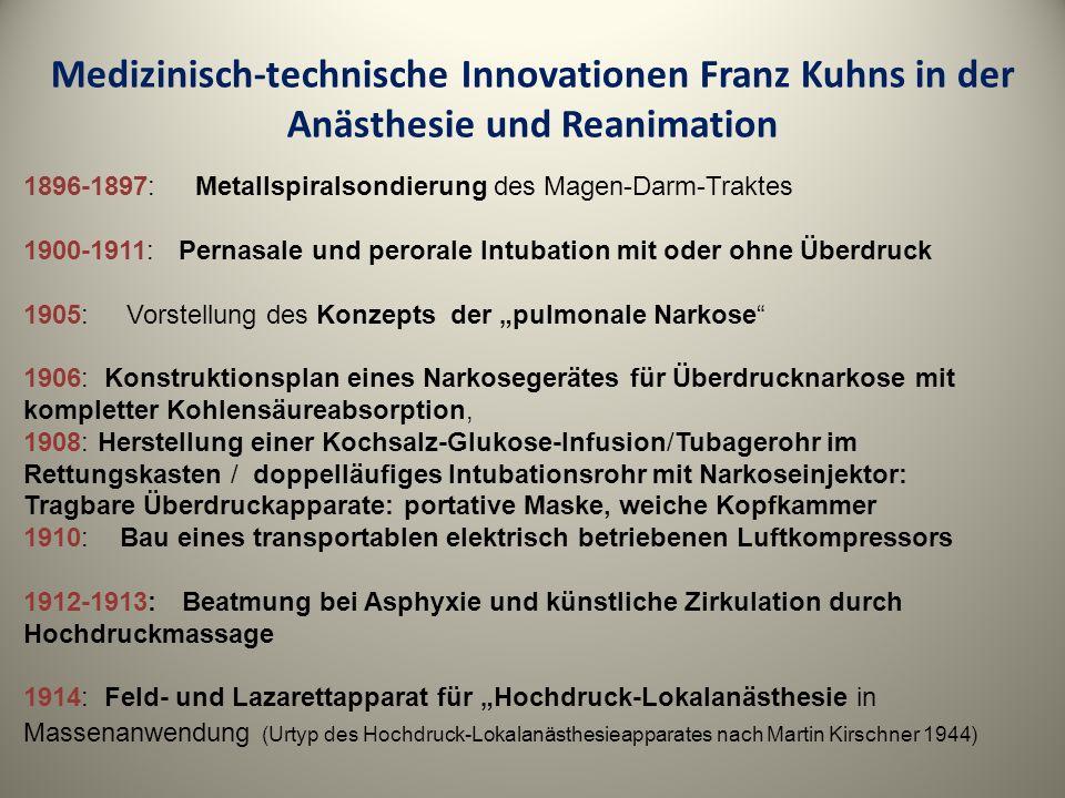 Medizinisch-technische Innovationen Franz Kuhns in der Anästhesie und Reanimation