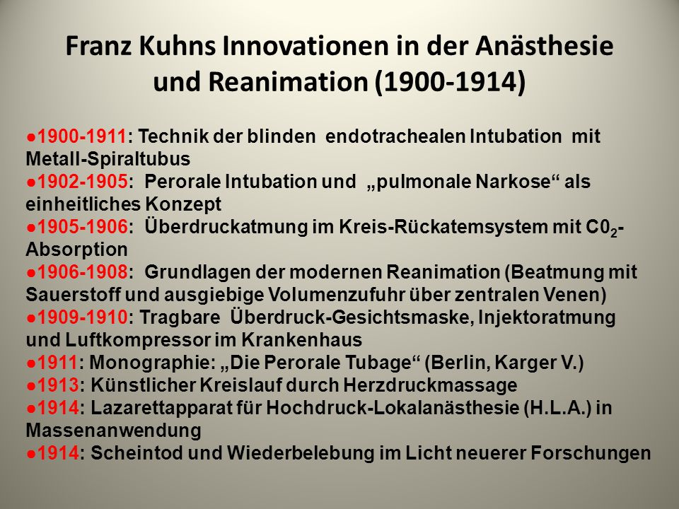 Franz Kuhns Innovationen in der Anästhesie und Reanimation ( )