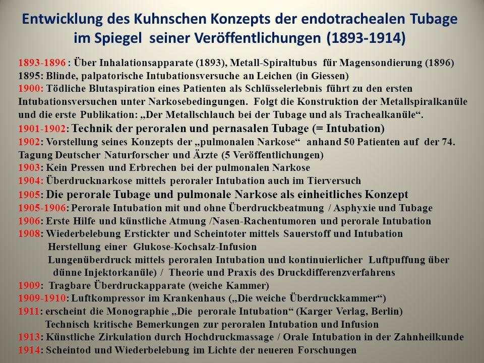 Entwicklung des Kuhnschen Konzepts der endotrachealen Tubage im Spiegel seiner Veröffentlichungen (1893-1914)