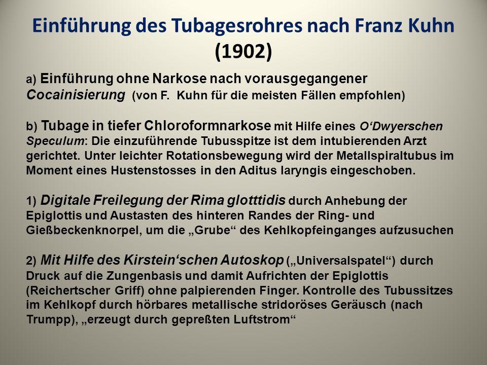 Einführung des Tubagesrohres nach Franz Kuhn (1902)