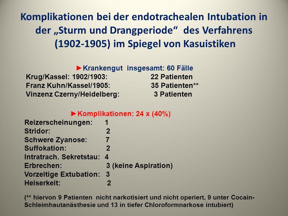 """Komplikationen bei der endotrachealen Intubation in der """"Sturm und Drangperiode des Verfahrens (1902-1905) im Spiegel von Kasuistiken"""