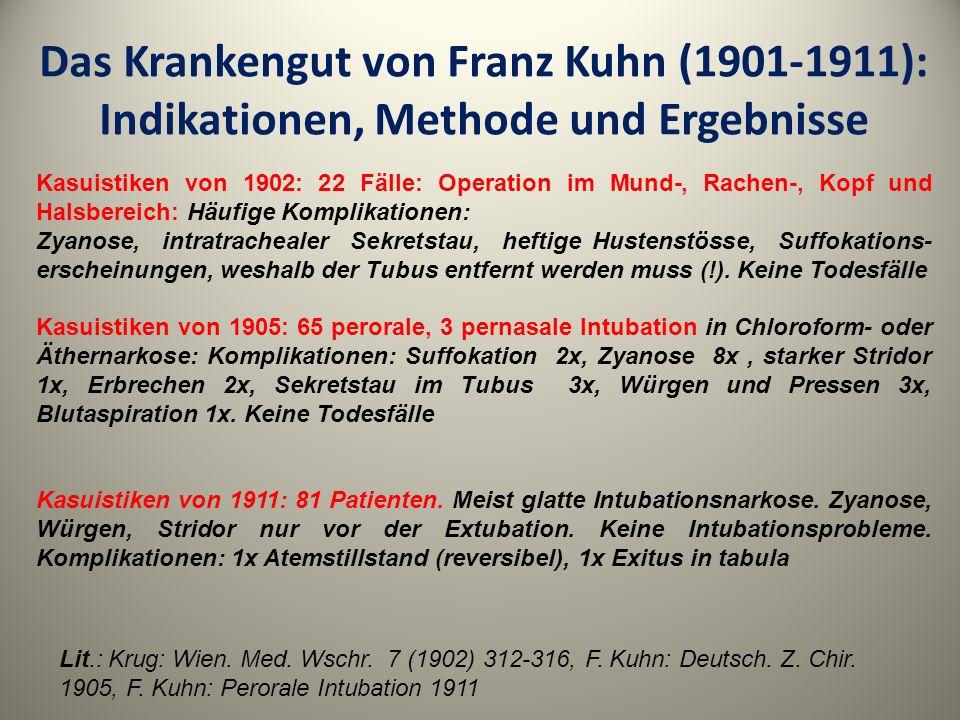 Das Krankengut von Franz Kuhn (1901-1911): Indikationen, Methode und Ergebnisse
