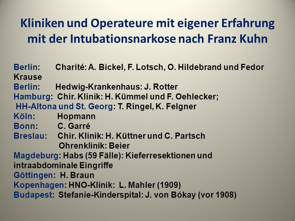 Kliniken und Operateure mit eigener Erfahrung mit der Intubationsnarkose nach Franz Kuhn
