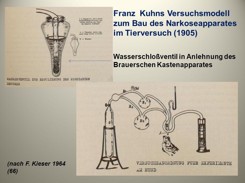 Franz Kuhns Versuchsmodell zum Bau des Narkoseapparates im Tierversuch (1905)