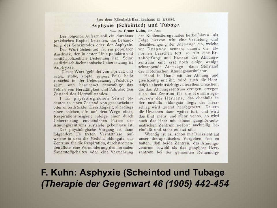 F. Kuhn: Asphyxie (Scheintod und Tubage