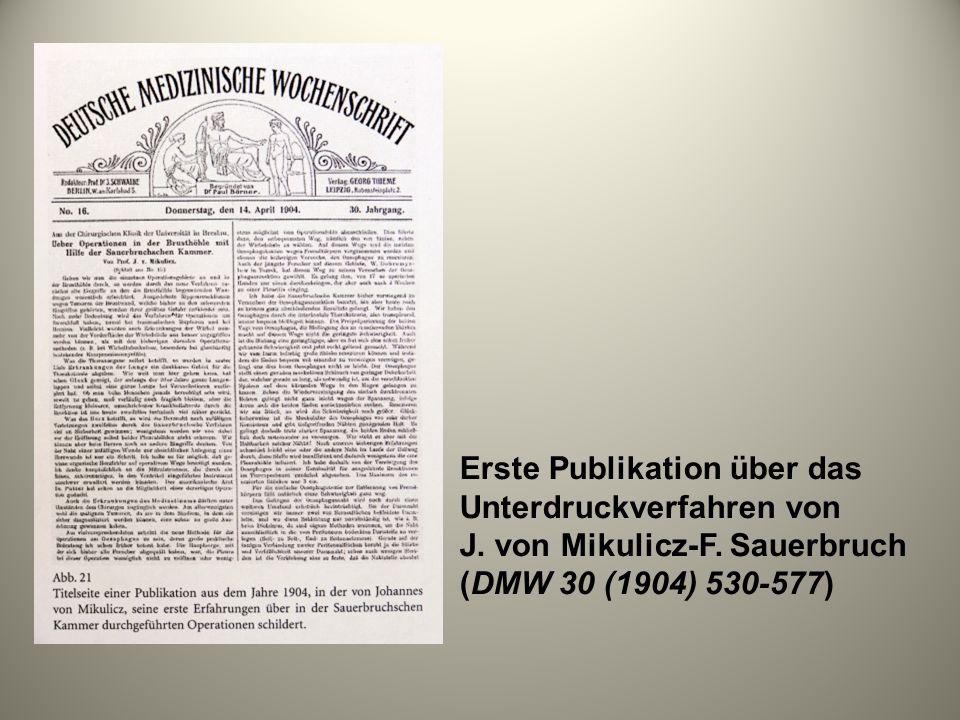 Erste Publikation über das Unterdruckverfahren von