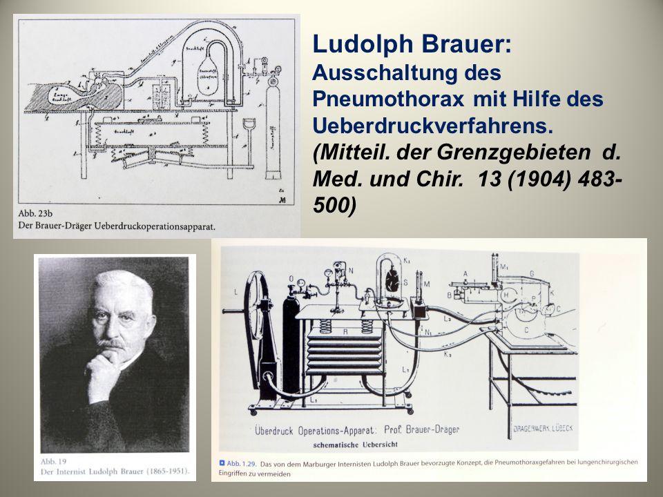 Ludolph Brauer: Ausschaltung des Pneumothorax mit Hilfe des Ueberdruckverfahrens.
