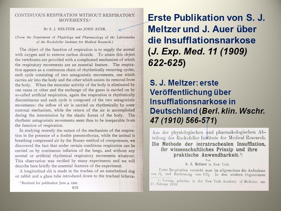 Erste Publikation von S. J. Meltzer und J