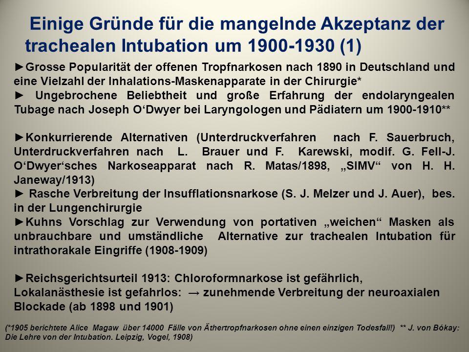 Einige Gründe für die mangelnde Akzeptanz der trachealen Intubation um 1900-1930 (1)