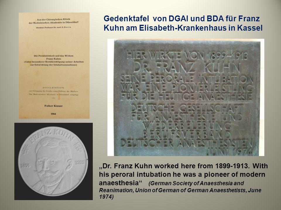 Gedenktafel von DGAI und BDA für Franz Kuhn am Elisabeth-Krankenhaus in Kassel