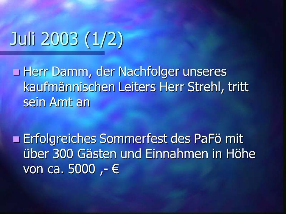 Juli 2003 (1/2) Herr Damm, der Nachfolger unseres kaufmännischen Leiters Herr Strehl, tritt sein Amt an.