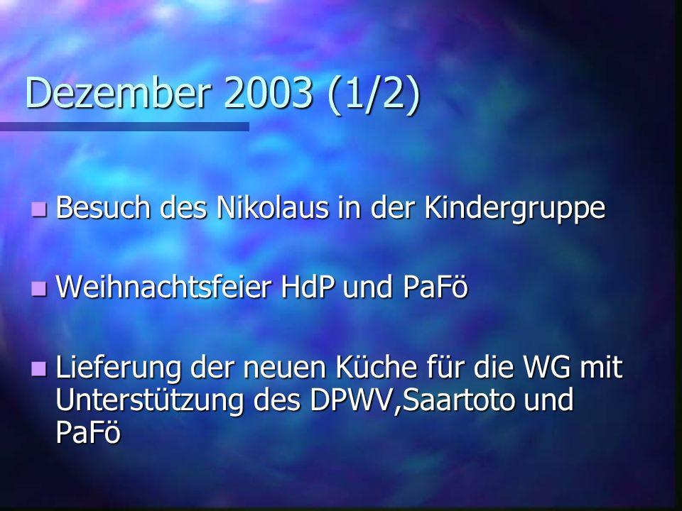 Dezember 2003 (1/2) Besuch des Nikolaus in der Kindergruppe