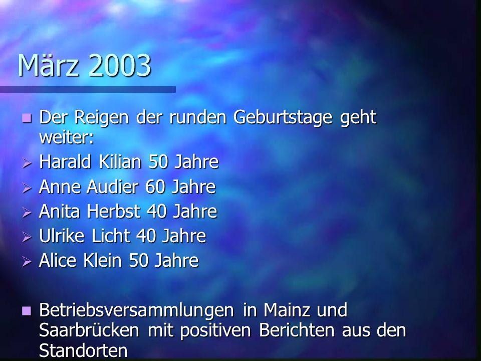 März 2003 Der Reigen der runden Geburtstage geht weiter: