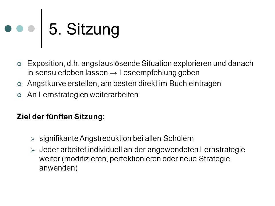 5. Sitzung Exposition, d.h. angstauslösende Situation explorieren und danach in sensu erleben lassen → Leseempfehlung geben.