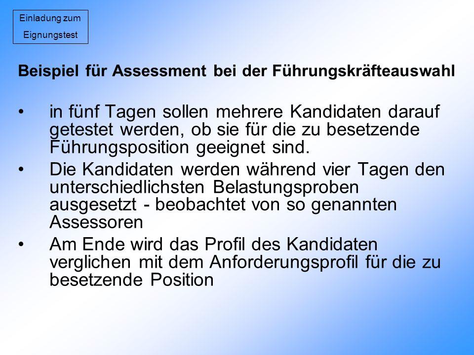 Einladung zum Eignungstest. Beispiel für Assessment bei der Führungskräfteauswahl.