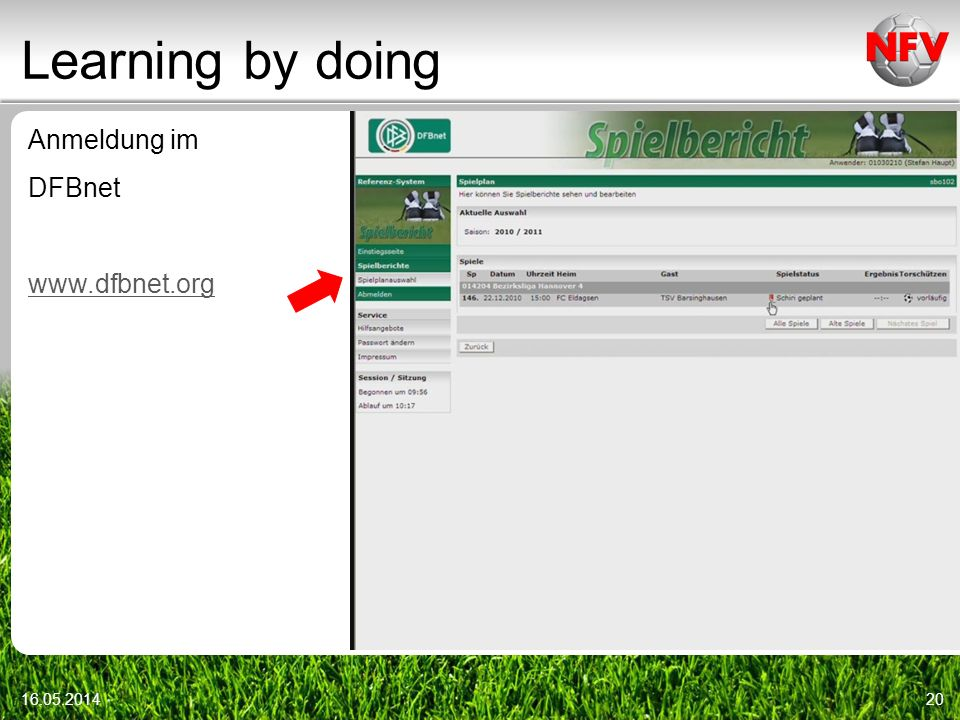 Learning by doing Anmeldung im DFBnet