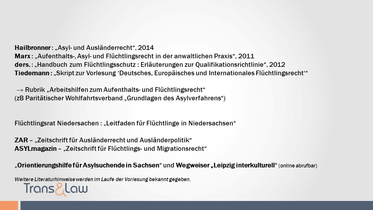 """Literaturhinweise Hailbronner : """"Asyl- und Ausländerrecht , 2014"""