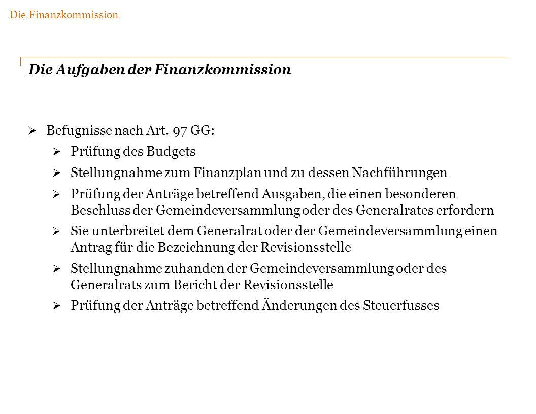 Die Aufgaben der Finanzkommission