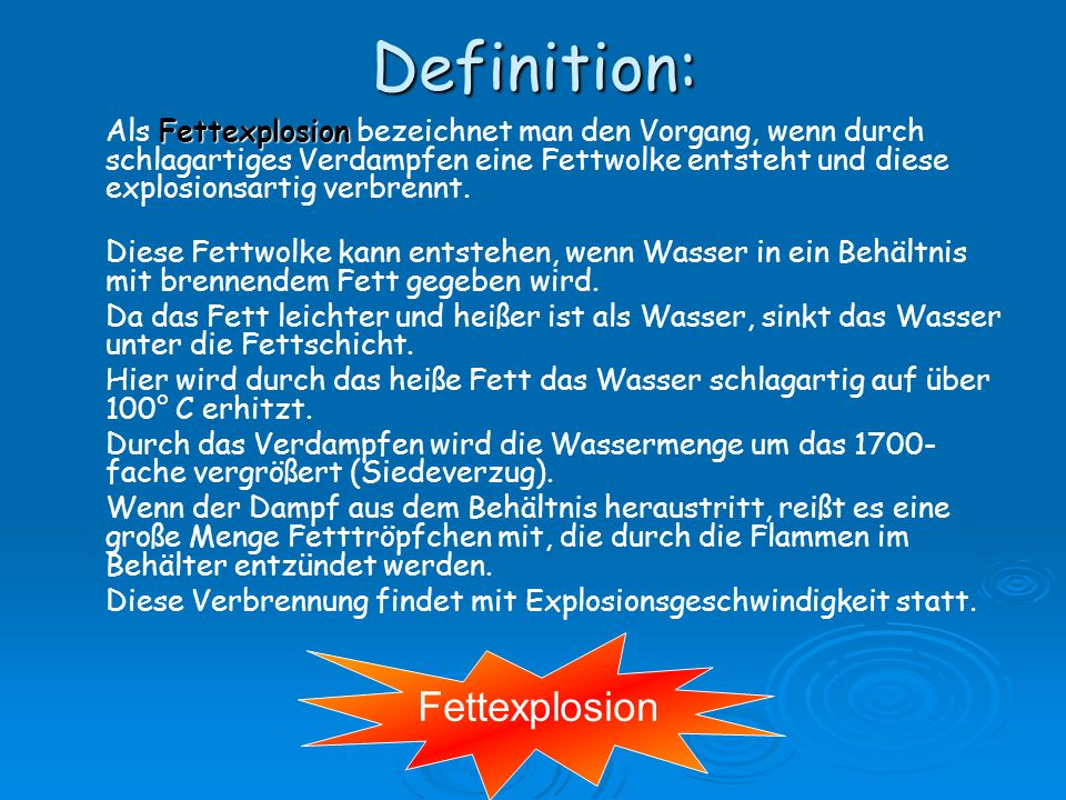 Definition: Fettexplosion