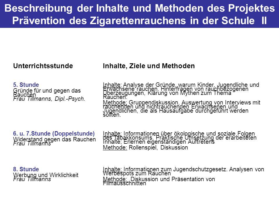 Beschreibung der Inhalte und Methoden des Projektes Prävention des Zigarettenrauchens in der Schule II