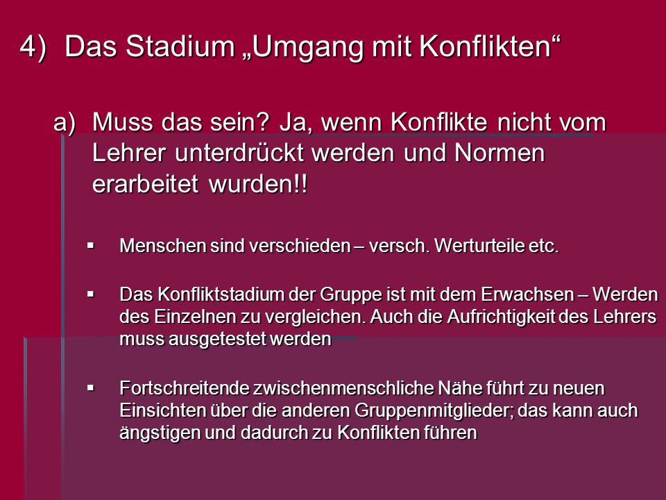 "Das Stadium ""Umgang mit Konflikten"