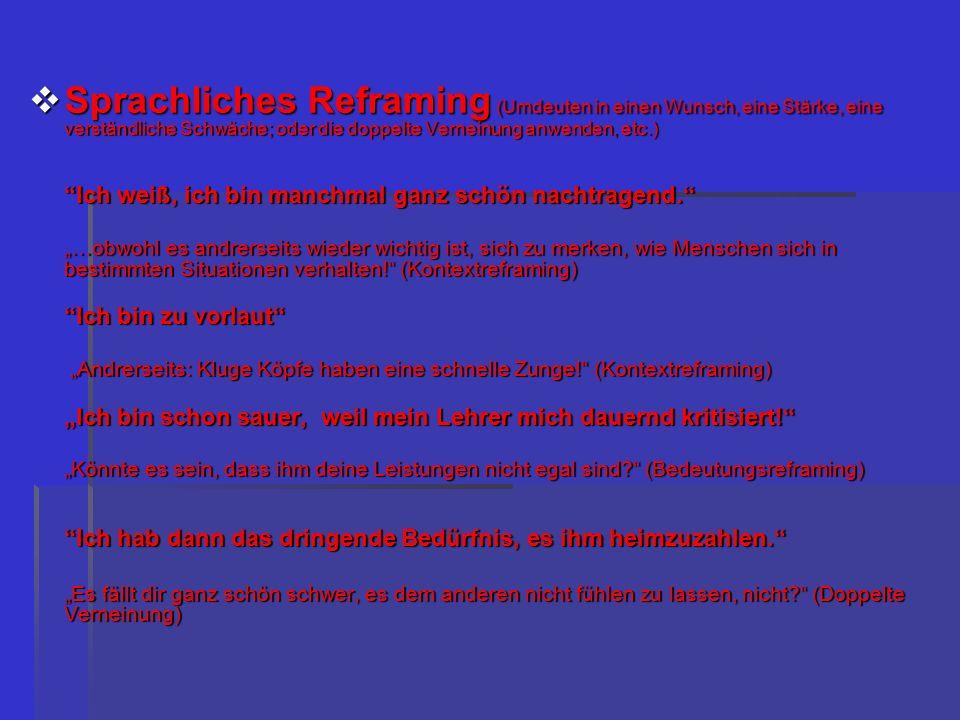 Sprachliches Reframing (Umdeuten in einen Wunsch, eine Stärke, eine verständliche Schwäche; oder die doppelte Verneinung anwenden, etc.)