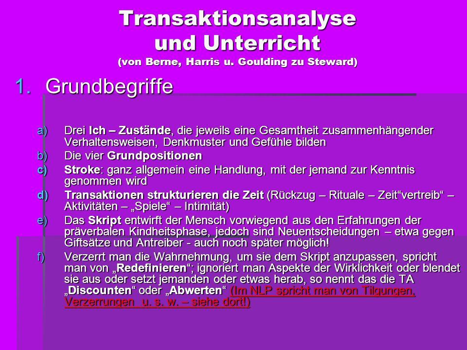 Transaktionsanalyse und Unterricht (von Berne, Harris u