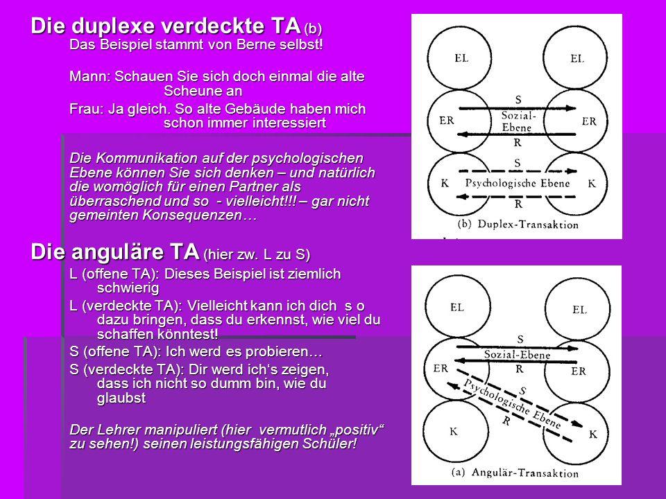 Die duplexe verdeckte TA (b) Das Beispiel stammt von Berne selbst!