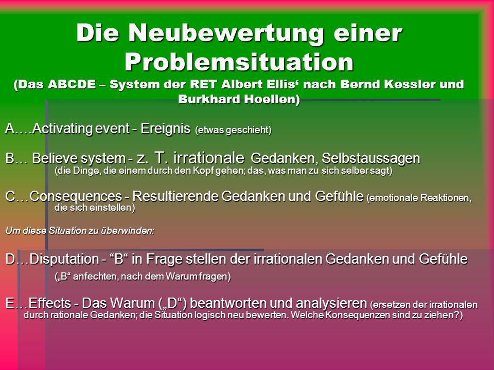 Die Neubewertung einer Problemsituation (Das ABCDE – System der RET Albert Ellis' nach Bernd Kessler und Burkhard Hoellen)