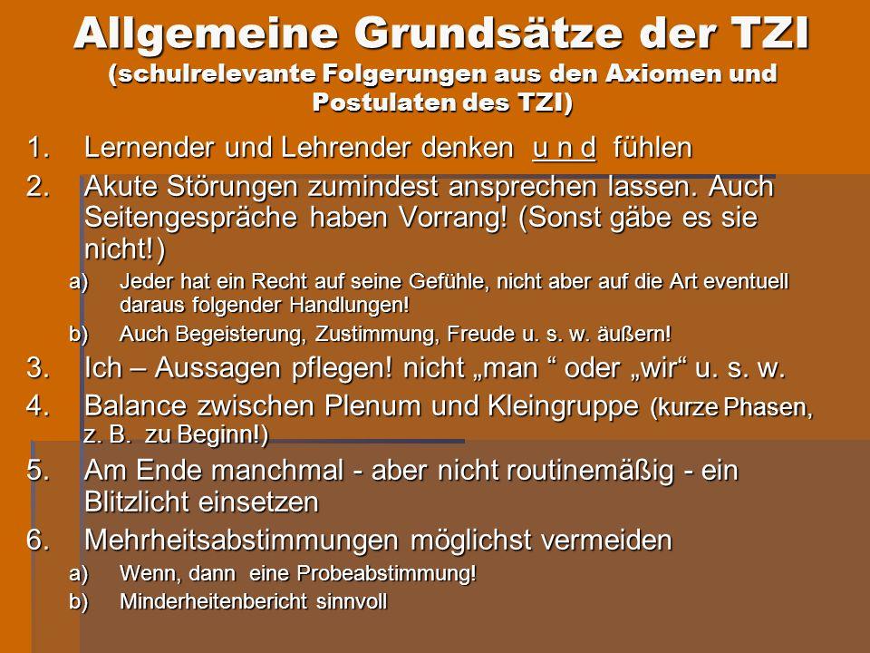 Allgemeine Grundsätze der TZI (schulrelevante Folgerungen aus den Axiomen und Postulaten des TZI)
