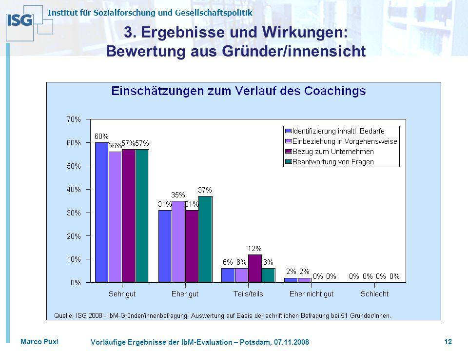 3. Ergebnisse und Wirkungen: Bewertung aus Gründer/innensicht