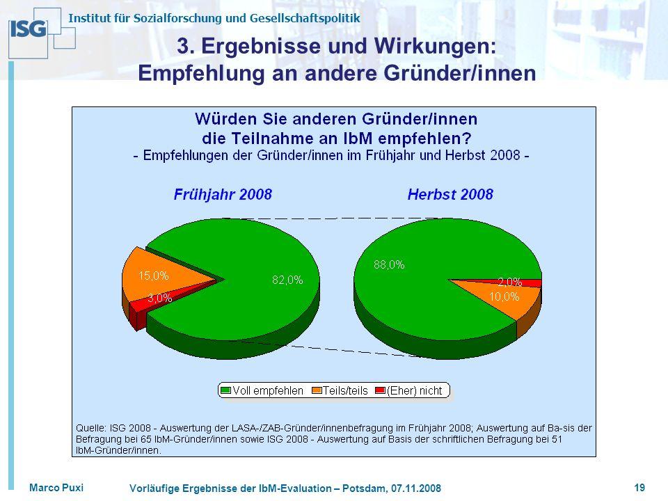 3. Ergebnisse und Wirkungen: Empfehlung an andere Gründer/innen