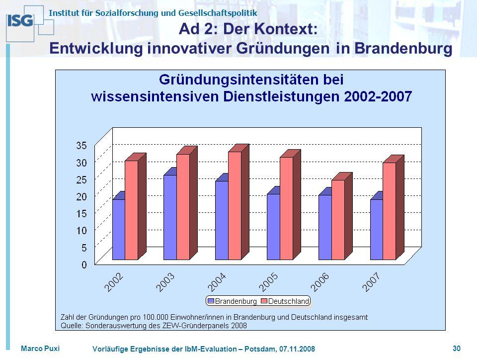 Ad 2: Der Kontext: Entwicklung innovativer Gründungen in Brandenburg