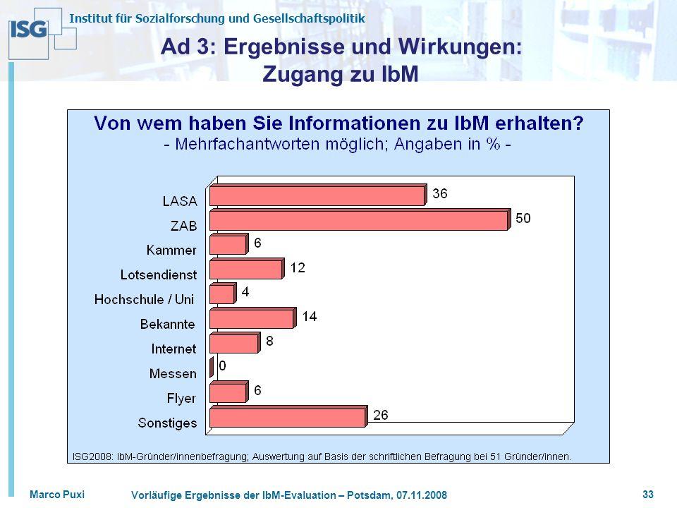 Ad 3: Ergebnisse und Wirkungen: Zugang zu IbM