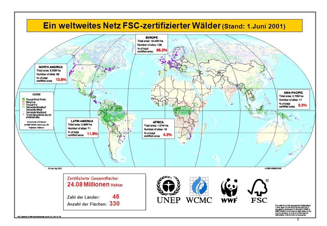 Ein weltweites Netz FSC-zertifizierter Wälder (Stand: 1.Juni 2001)